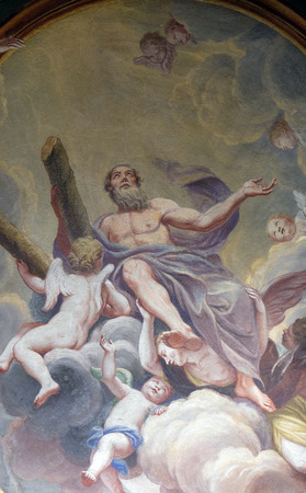 apostle: Saint Andrew the Apostle, fresco on the ceiling  of the Cathedral of St Nicholas in the capital city of Ljubljana, Slovenia Stock Photo