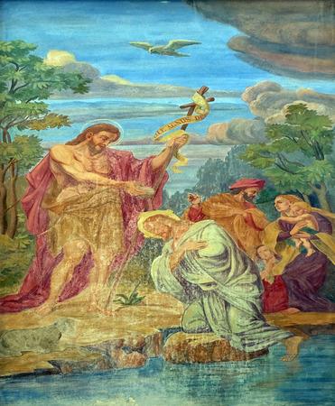 bautismo: Bautismo del Se�or, el fresco en la fachada de la Catedral de San Nicol�s en la ciudad capital de Ljubljana, Eslovenia