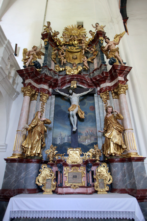 immaculate: Altar of the Holy Cross, parish Church of the Immaculate Conception of the Virgin Mary in Lepoglava, Croatia Editorial