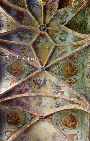 mystic place: Fresco painting on the ceiling of the parish Church of the Immaculate Conception of the Virgin Mary in , Croatia Editorial
