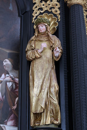 our lady of sorrows: Saint Teresa on the altar of Our Lady of Sorrows, parish Church of the Immaculate Conception of the Virgin Mary in Lepoglava Stock Photo