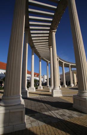 colonnade: Modern colonnade of the shopping center in Sv. Kriz Zacretje, Croatia