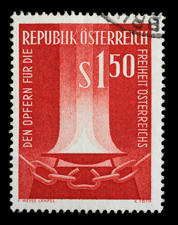 catena: Stamp printed by Austria, shows Flame and broken chain, circa 1961