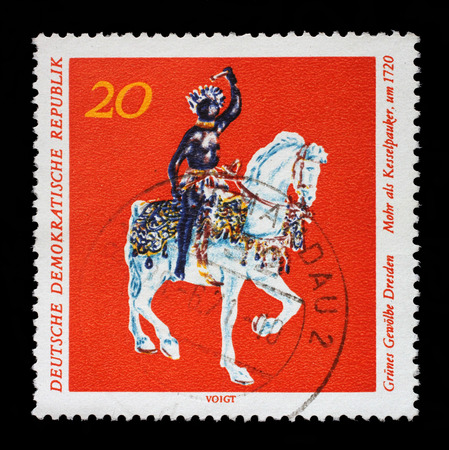 als: Stamp printed in GDR from the Art, The Grnes Gewolbe Dresden issue shows Mohr als Kesselpauker, circa 1971.