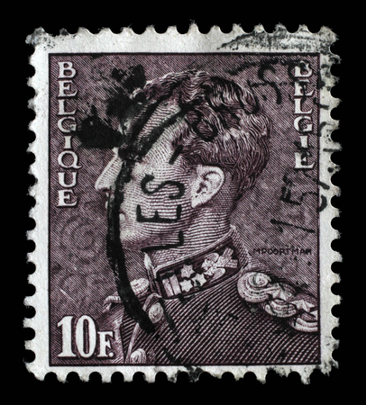 baudouin: Stamp printed in the Belgium shows King Baudouin, Belgian king, circa 1958