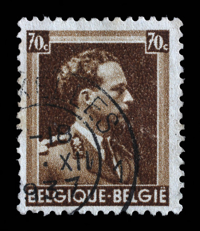 leopold: Stamp printed in Belgium shows portrait King Leopold III 1901-1983, circa 1944