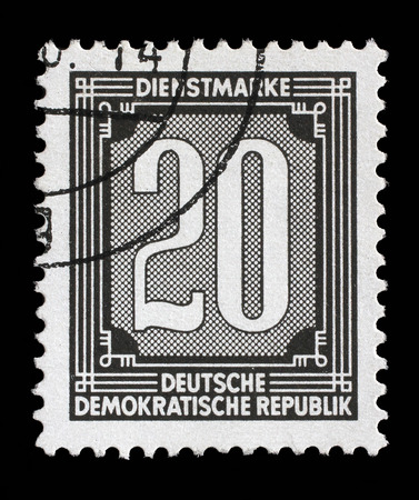 stempel: Stamp printed in GDR shows numeric value, circa 1956. Editorial