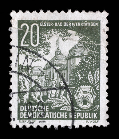 bad plan: Stamp printed in GDR, shows Bad Elster, spa town of the workers, series Five year plan, circa 1953