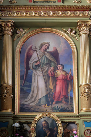 altarpiece: Guardian angel, altarpiece in the Basilica of the Sacred Heart of Jesus in Zagreb, Croatia Stock Photo