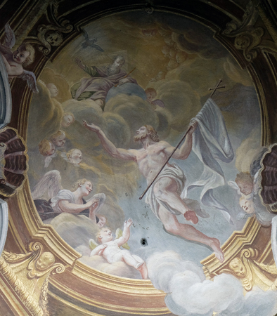 the ascension: Ascension of Christ, fresco in the St Nicholas Cathedral in the capital city of Ljubljana, Slovenia