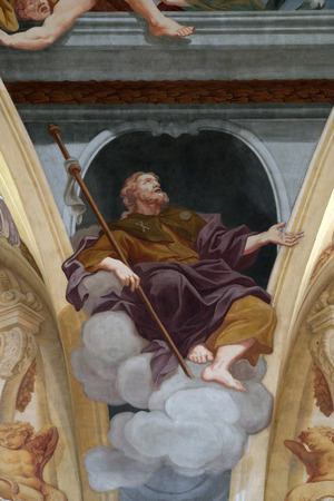 apostle: Saint James the Apostle, fresco on the ceiling  of the Cathedral of St Nicholas in the capital city of Ljubljana, Slovenia