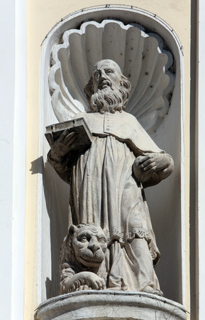 immaculate conception: Saint Jerome on the portal of Holy Cross, parish Church of the Immaculate Conception of the Virgin Mary in Lepoglava