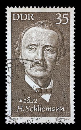 postmarked: Stamp printed in GDR shows Heinrich Schliemann 1822-1890, archaeologist, circa 1972