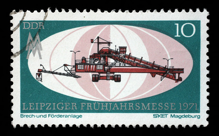 gdr: Stamp printed in GDR shows Crushing and Conveyor Plant, Magdeburg, Leipzig Fair, circa 1971