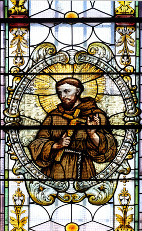 Saint Francis of Assisi, stained glass window in Cathedral of St Nicholas in Novo Mesto, Slovenia