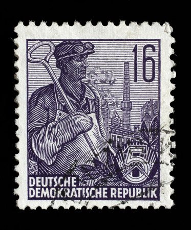 gdr: Stamp printed in GDR, shows a worker, series Five-year plan, circa 1955