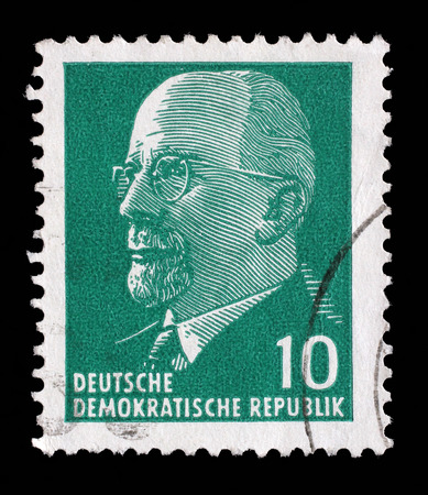 east germany: Stamp printed in German Democratic Republic - East Germany shows Chairman Walter Ulbricht communist politician, first secretary of Socialist Unity Party, leader, circa 1961