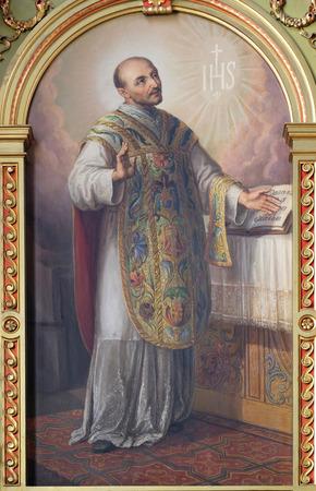retablo: San Ignacio de Loyola, retablo de la bas�lica del Sagrado Coraz�n de Jes�s en Zagreb, Croacia Editorial