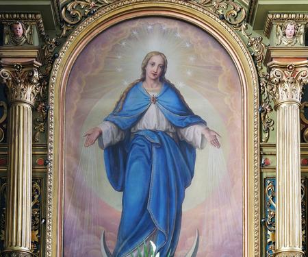 sacre coeur: Vierge Marie retable de la basilique du Sacr�-C?ur de J�sus � Zagreb, Croatie �ditoriale
