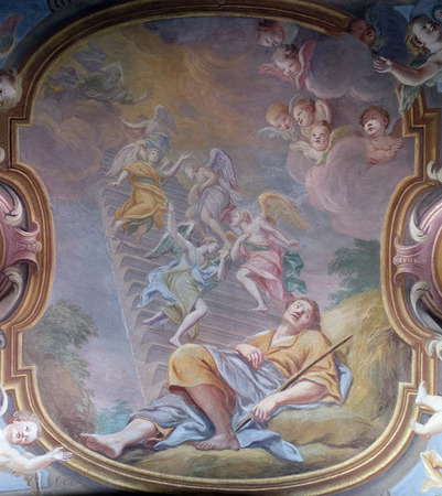 st nicholas cathedral: Jacobs dream, fresco in the St Nicholas Cathedral in Ljubljana, Slovenia Editorial