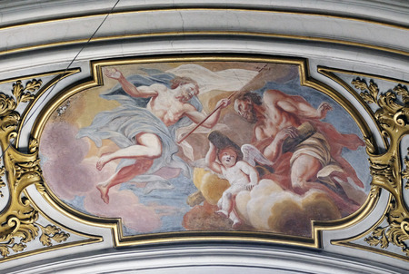 risen christ: Risen Christ and St. Andrew in heavenly glory, fresco in the St Nicholas Cathedral in Ljubljana, Slovenia