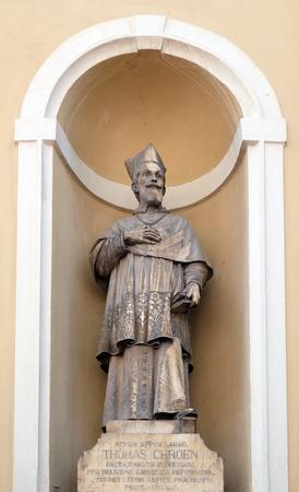 st nicholas cathedral: Tomaz Hren, bishop of Ljubljana on the facade of St Nicholas Cathedral in Ljubljana, Slovenia Editorial