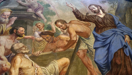 lazarus: Jesus Miracles - Raising Lazarus, fresco in the St Nicholas Cathedral in Ljubljana, Slovenia