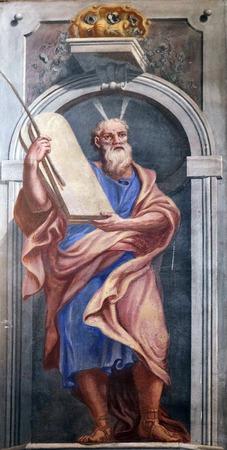 ten commandments: Moses, fresco in the St Nicholas Cathedral in Ljubljana, Slovenia Editorial