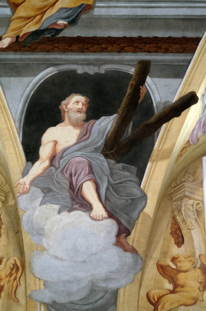 apostle: Saint Andrew the Apostle, fresco on the ceiling  of the Cathedral of St Nicholas in Ljubljana, Slovenia Editorial