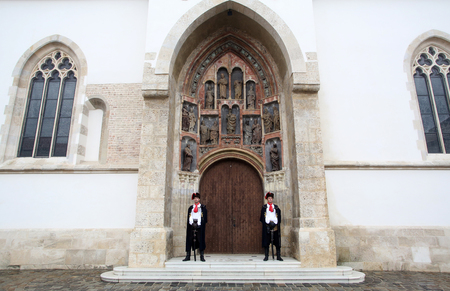 st  mark: Guard of Honour of the Cravat Regiment on the south portal of the church of St. Mark in Zagreb, Croatia Editorial