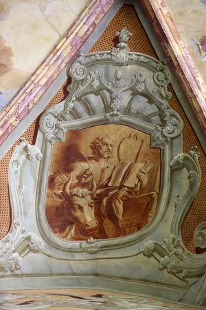 evangelist: Saint Luke the Evangelist, fresco in parish Church of the Immaculate Conception of the Virgin Mary in Lepoglava, Croatia