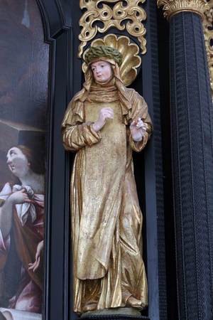 our lady of sorrows: Saint Teresa on the altar of Our Lady of Sorrows, parish Church of the Immaculate Conception of the Virgin Mary in Lepoglava, Croatia