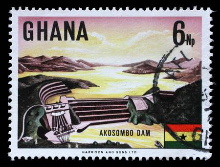 electric power station: Stamp printed in Ghana shows Volta River dam and electric power station at Akosombo, circa 1967