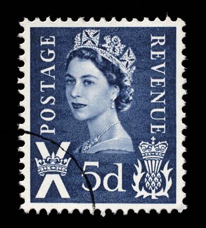 queen elizabeth: Scottish Used Postage Stamp showing Portrait of Queen Elizabeth 2nd, circa 1958 to 1970