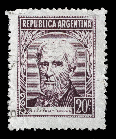 admiral: Stamp printed Argentina in shows portrait of Admiral Guillermo Brown 1777-1857 founder of the Argentine navy, circa 1959