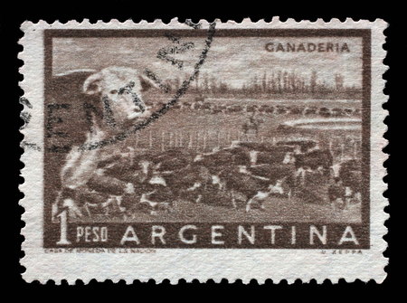 monoculture: Stamp printed in Argentina shows a heard of beef cattle in the Argentinean walking through a gate in a fence, circa 1954.