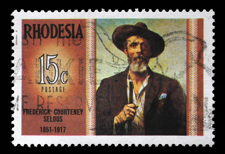 rhodesians: Stamp in Rhodesia shows Frederick Courteney Selous 1851-1917, explorer, big game hunter, series Famous Rhodesians, circa 1971