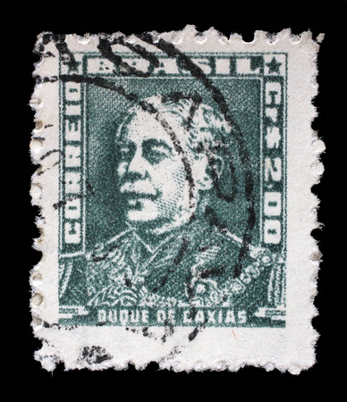 luis: Stamp printed in Brazil from the Portraits issue shows Duke of Caxias, circa 1954.