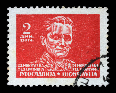yugoslavia federal republic: Stamp printed in Federal Democratic Republic of Yugoslavia shows Marshal Josip Broz Tito, circa 1945 Editorial