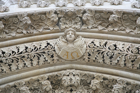 saint stephen cathedral: Angel on the portal of the cathedral dedicated to the Assumption of Mary and to kings Saint Stephen and Saint Ladislaus in Zagreb
