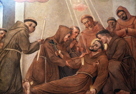 saint: Death of Saint Francis of Assisi, fresco in the Franciscan Church of the Annunciation in Ljubljana, Slovenia Editorial