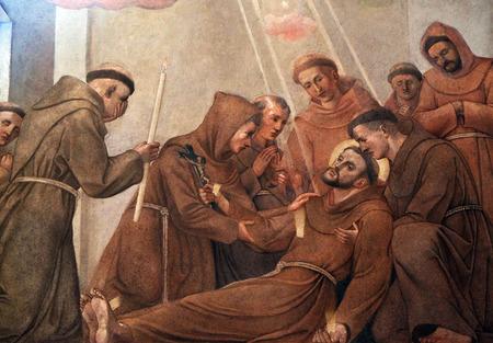 religion catolica: Muerte de San Francisco de Asís, el fresco en la Iglesia Franciscana de la Anunciación en Ljubljana, Eslovenia