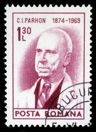 sarmiento: Stamp printed in Romania shows portrait of Constantin Ion Parhon, circa 1974. Editorial