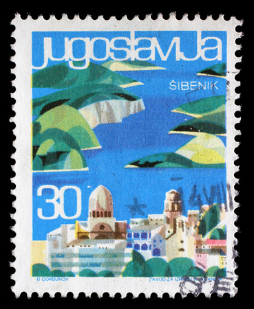 sello: Stamp printed in Yugoslavia from the Local Tourism issue shows Sibenik, Croatia, circa 1963.