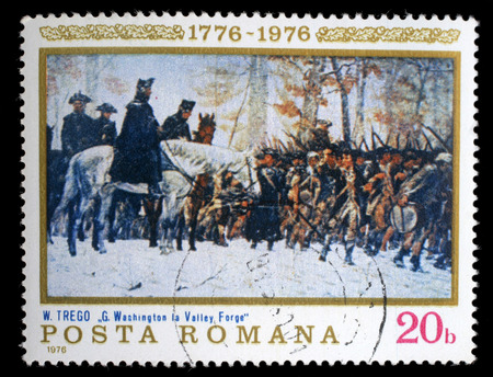 forge: Stamp printed in the Romania shows Washington at Walley Forge, Painting by William B .T. Trego, American Bicentennial, circa 1976