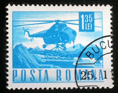 heli: Stamp printed in Romania showing a Mil Mi-4 helicopter, circa 1967. Editorial