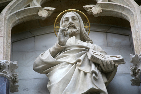 saint stephen cathedral: Christ the Teacher on the portal of the cathedral dedicated to the Assumption of Mary and to kings Saint Stephen and Saint Ladislaus in Zagreb