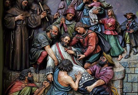 religious cross: Martyrdom of Saint John of Nepomuk, the altar in the Basilica of the Sacred Heart of Jesus in Zagreb, Croatia