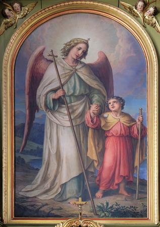 sacre coeur: Ange gardien, retable de la basilique du Sacr�-C?ur de J�sus � Zagreb, Croatie