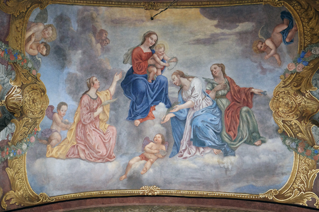 annunciation of mary: Virgin Mary with the baby Jesus surrounded by saints and angels, fresco in the Franciscan Church of the Annunciation in Ljubljana, Slovenia